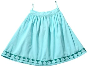 TIDDLYWINGS Girl Cotton Printed Flared skirt - Green