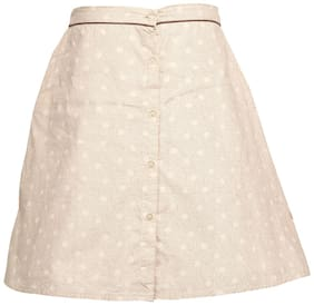 TIDDLYWINGS Girl Cotton Printed A- line skirt - White