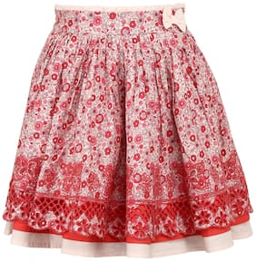 TIDDLYWINGS Girl Cotton Printed Straight skirt - Red