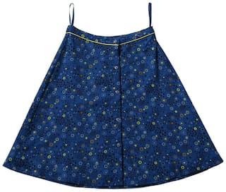TIDDLYWINGS Girl Cotton Printed A- line skirt - Blue