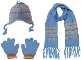 Tiekart Winter Fashion Baby Boys & Girls Toddler 3pc Blue Warm Woolen Beanie Cap+Muffler+Gloves Mitten Set