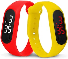 Time Up Combo of 2 Extremely Thin Waterproof Bullet-Shape Design Digital LED Kids Watches For Boys & Girls-OLED-RED-CMB-6