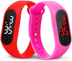 Time Up Combo of 2 Extremely Thin Waterproof Bullet-Shape Design Digital LED Kids Watches For Boys & Girls-OLED-RED-CMB-11