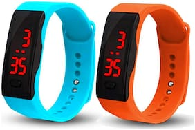 Time Up Combo of Digital LED Display Stylish Design Waterproof Kids Gear Watches for Boys & Girls-AQUA-COMBO-LED-8