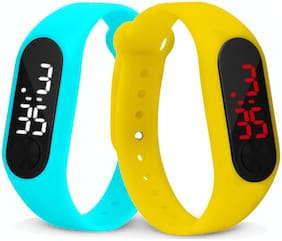 Time Up Combo of 2 Extremely Thin Waterproof Bullet-Shape Design Digital LED Kids Watches For Boys & Girls-OLED-AQUA-CMB-6