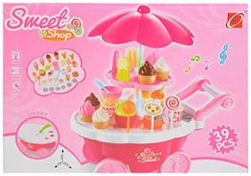 Tiny's World 39 pcs of colourful kids role pretend play battery operated sweet shop candy cart toy for children (3 and above) with lights;music and multiple amusing accessories.