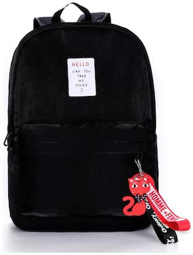Tinytot Black School College Travel Backpack for Girls;Capacity 18 Litre