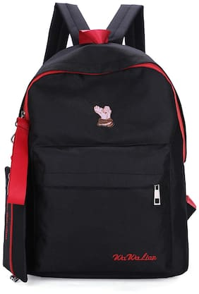 Tinytot Black School College Travel Backpack with Pencil Pouch for Girls;Capacity 18 L