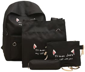 Tinytot Black School College Travel Backpack with Pencil Pouch (4 pcs Set) for Girls;Capacity 18 L