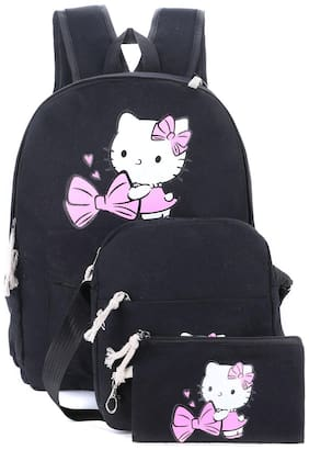 Tinytot Black School College Travel Backpack with Pencil Pouch (3 Pcs Set) for Girls;Capacity 18 Litre
