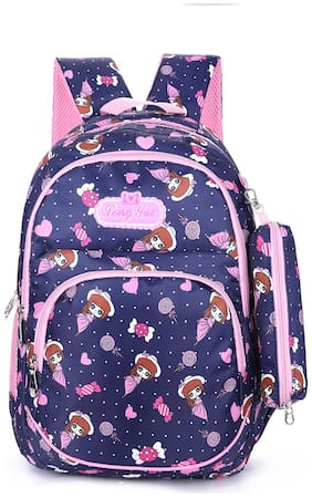 Tinytot Blue School Backpack with Pencil Pouch for 3rd - 10th Std.; Girls;Capacity 26 Litre