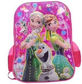 Tinytot Designer 6D Frozen School Bag for Girls (Pink)