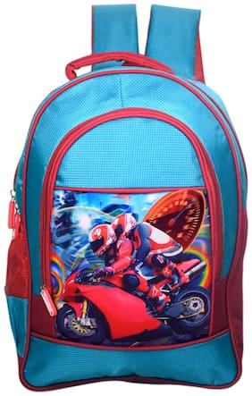 Tinytot Designer Racer Byke Model School Bag for Boys (Blue)