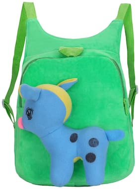 Tinytot Green Velvet School Backpack for Play School Nursery Kids; Boys & Girls;Capacity 7 L