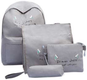 Tinytot Grey School College Travel Backpack with Pencil Pouch (4 pcs Set) for Girls;Capacity 18 L