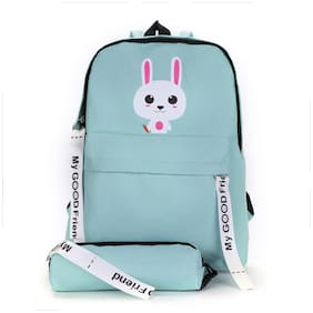Tinytot Light Green School College Travel Backpack with Pencil Pouch for Girls;Capacity 18 L