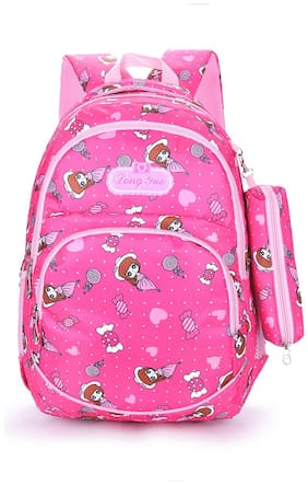Tinytot Multicolor School Backpack with Pencil Pouch for 3rd - 10th Std.; Girls;Capacity 26 L