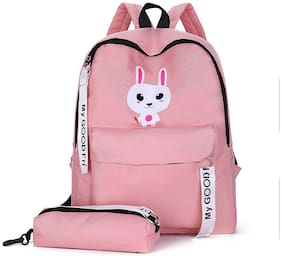 Tinytot Pink School College Travel Backpack with Pencil Pouch for Girls;Capacity 18 L