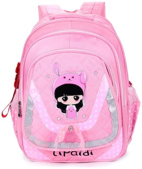 Tinytot Pink School Backpack with Pencil Pouch for 3rd - 10th Std.; Girls;Capacity 24 Litre