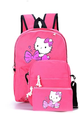 Tinytot Pink School College Travel Backpack with Pencil Pouch (3 pcs Set) for Girls;Capacity 18 L