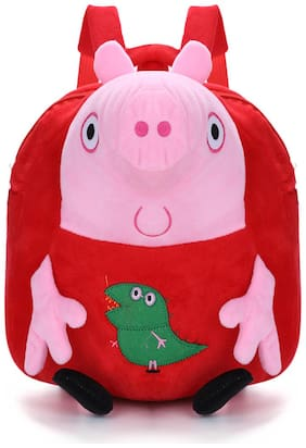 Tinytot Red Velvet School Backpack for Play School Nursery Kids; Boys & Girls;Capacity 7 L