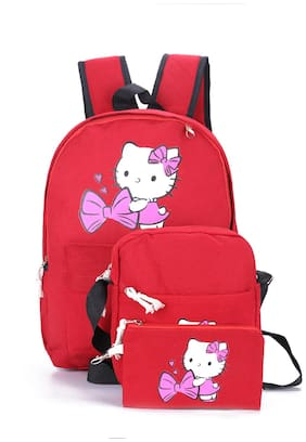 Tinytot Red School College Travel Backpack with Pencil Pouch (3 Pcs Set) for Girls;Capacity 18 Litre