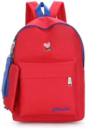 Tinytot Red School College Travel Backpack with Pencil Pouch for Girls;Capacity 18 L