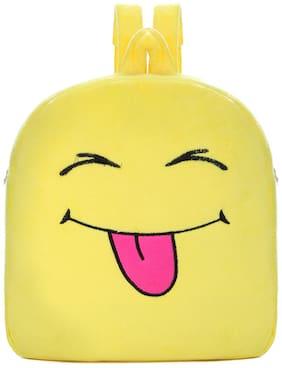 Tinytot Yellow_6 Smiley Velvet School Backpack for Play School Nursery Kids; Boys & Girls;Capacity 7 L