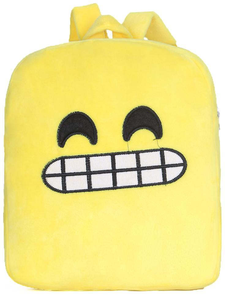 Tinytot Yellow_5 Smiley Velvet School Backpack for Play School Nursery Kids; Boys   Girls;Capacity 7 L