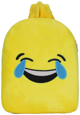 Tinytot Yellow_4 Smiley Velvet School Backpack for Play School Nursery Kids; Boys & Girls;Capacity 7 L
