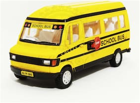 TMP School Bus Miniature Automobile toy (Pull Back Action) Contents may vary from illustrations.