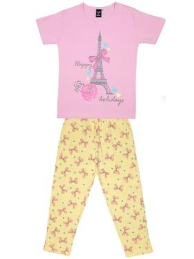 Todd N Teen Girl Cotton Top & Bottom Set - Pink & Yellow