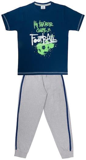 Todd N Teen Boys Cotton Pinted Tshirt, Dailywear, Clothing Set With Track Pant Full Pant Pyjama Navy 5-6 years