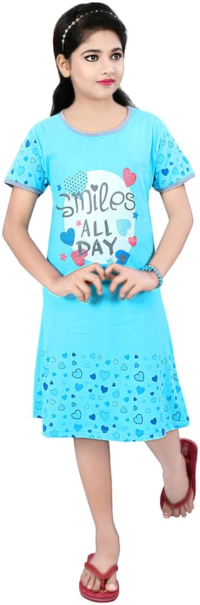 Todd N Teen Girl's Cotton Printed Nighty - Blue