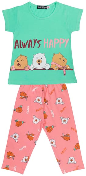 Todd N Teen Girls Cotton Casualwear, Nightwear, Loungewear With Capri 6 years (seagreen)