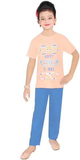 Todd N Teen Girl's Cotton Printed Short sleeves Top & pyjama set - Pink & Blue