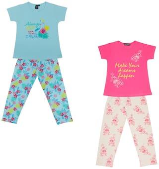 Todd N Teen Girl's Cotton Printed Short sleeves Top & pyjama set - Multi