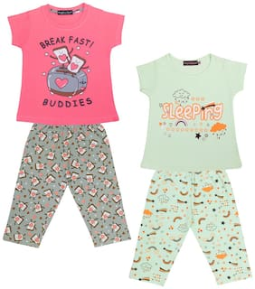 Todd N Teen Girls Combo Set of 2 Cotton Printed Tshirts with 2 Capri (4 to 5 years) Multi