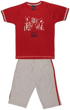 Todd N Teen Cotton Printed Top & Bottom Set - Red & Grey