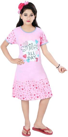 Todd N Teen Girl's Cotton Printed Nighty - Pink