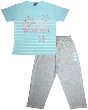 Todd N Teen Girl's Cotton Printed Top & pyjama set - Blue & Grey