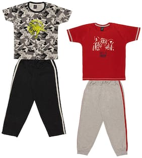 Todd N Teen Boys Cotton Printed Tshirt with Pant Combo set of 2 (5 to 6 years) black