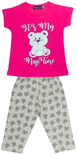 Todd N Teen Girls Cotton Casualwear, Nightwear, Loungewear With Capri 6 years (pink)