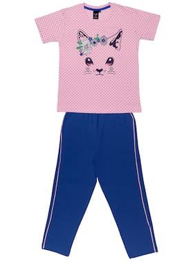 Todd N Teen Girl Cotton Top & Bottom Set - Pink & Blue