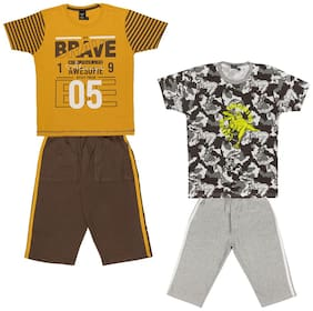 Todd N Teen Boys Cotton Printed  Tshirt with Three quarter pantCombo set of 2 (5 to 6 years) Brown
