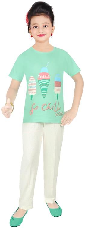 Todd N Teen Girl's Cotton Printed Short sleeves Top & pyjama set - Green & Cream