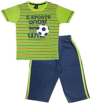 Todd N Teen Cotton Striped Top & Bottom Set - Green & Blue