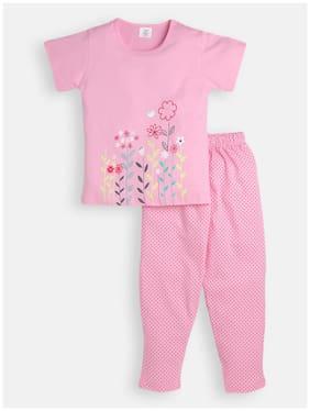 Todd N Teen Girls Cotton Printed Casualwear, Nightwear, Dailywear With Pajama 5-6 years -Pink