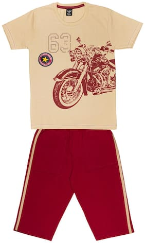 Todd N Teen Cotton Printed Top & Bottom Set - Beige & Red