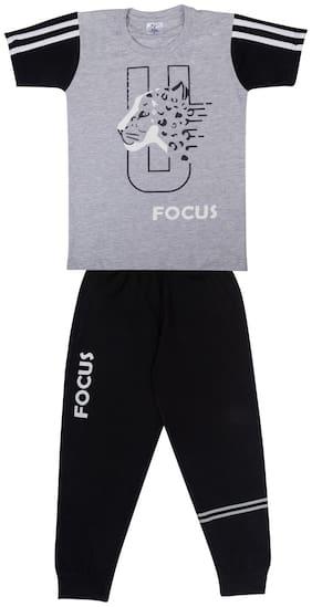 Todd N Teen Boys Cotton Pinted Tshirt, Dailywear, Clothing Set With Track Pant Full Pant Pyjama grey 5-6 years